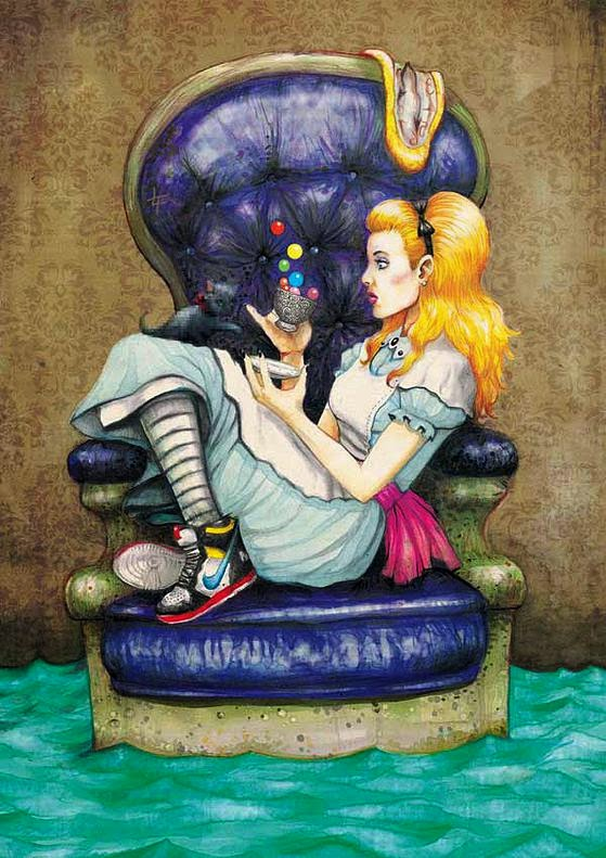 08-Alice-in-Wonderland-Luke-Tobias-Surreal-Drawings-from-Popular-Culture-www-designstack-co