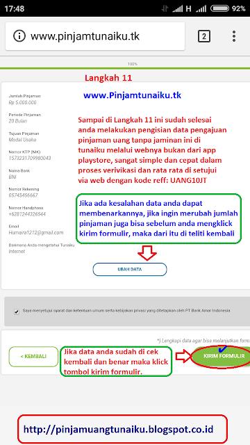 K.Gambar langkah 11 pengajuan pinjaman uang tanpa jaminan via link web promo tunaiku www.Pinjamtunaiku.tk