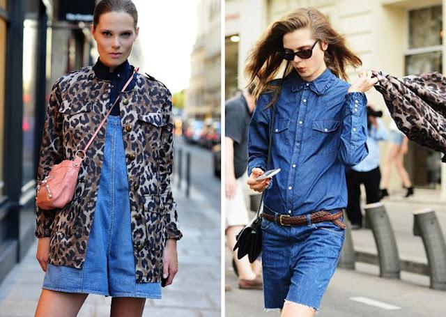Леопардовый жакет с джинсовым комбинезоном