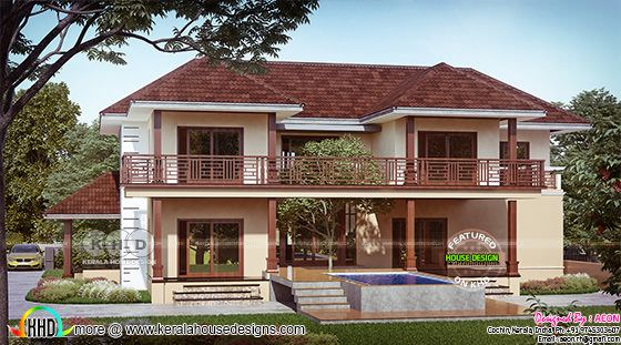 4 bedroom river side Kerala home design