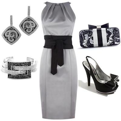 415cc4ae5 Moda elegante con vestido gris perla combinado con negro