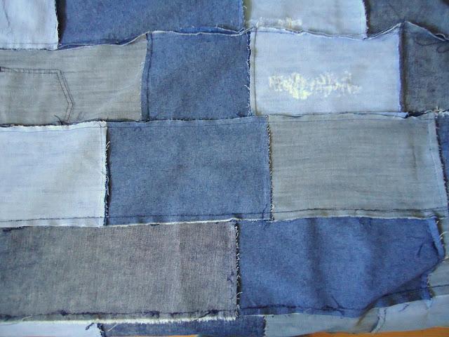 jeansowa narzuta z prostokątów