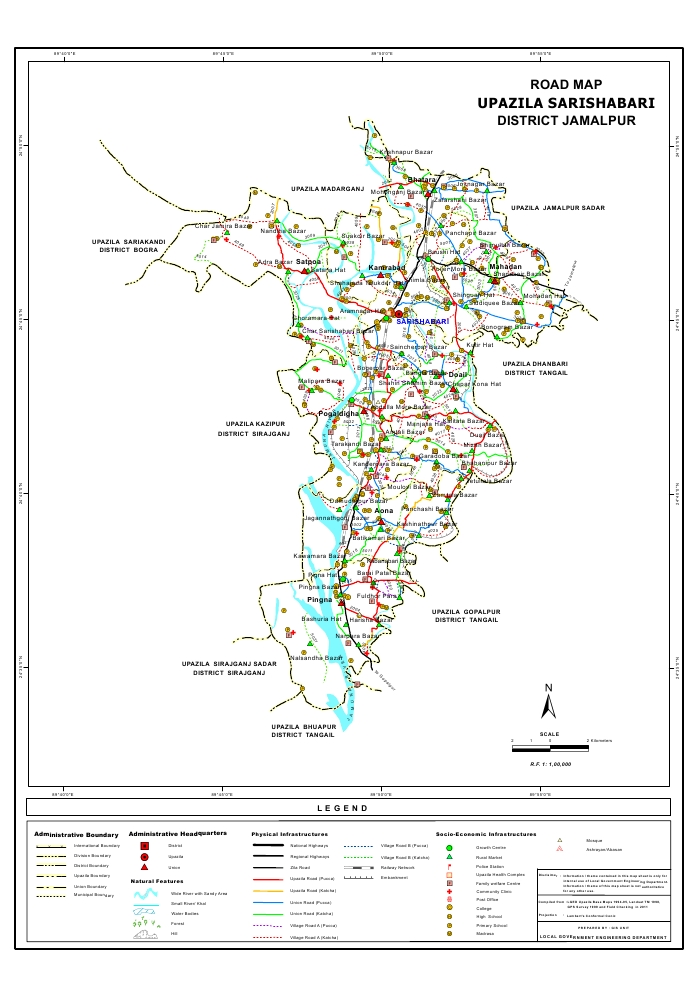 Sarishabari Upazila Road Map Jamalpur District Bangladesh