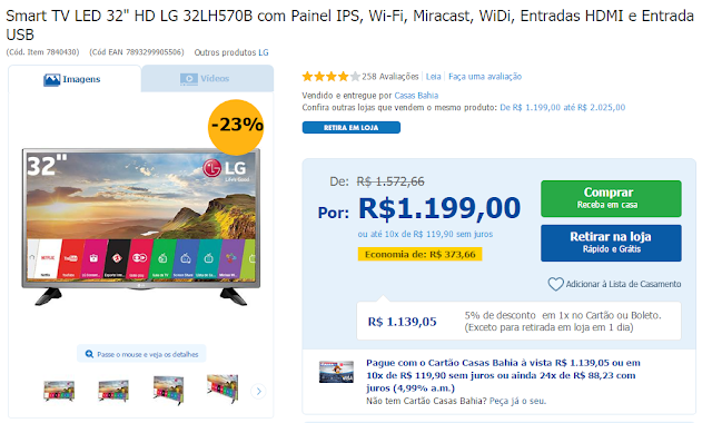 "Smart Tv LED 32"" LG - Casas Bahia"