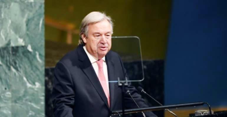 UN Secretary-General Antonio Guterres addresses the 72nd session of the United Nations General Assembly at the UN headquarters in New York on September 19, 2017. By Jewel SAMAD (AFP/File)