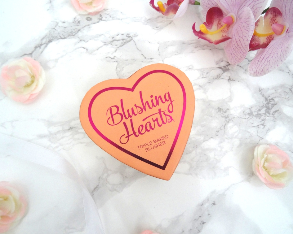 I Heart Makeup's Blushing Hearts Triple Baked Blusher in Peachy Pink Kiss Packaging