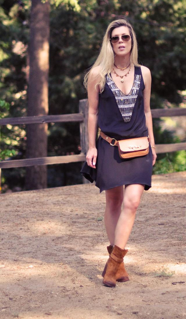 Karen Zambos drop waist gatsby dress, hip bag