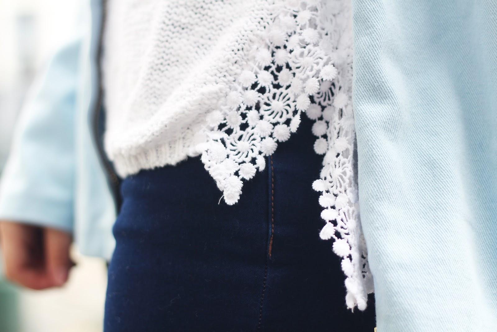 Pull blanc dentelle New Look