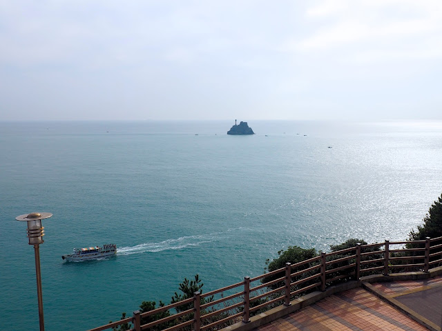 Ocean view with Teapot Island taken from near Yeongdo Lighthouse in Taejongdae Park, Busan, South Korea