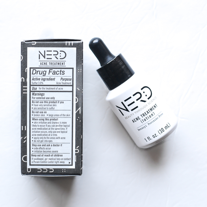 Nerd Skincare Acne Treatment Lotion - Ingredients - Directions for Use - Warnings