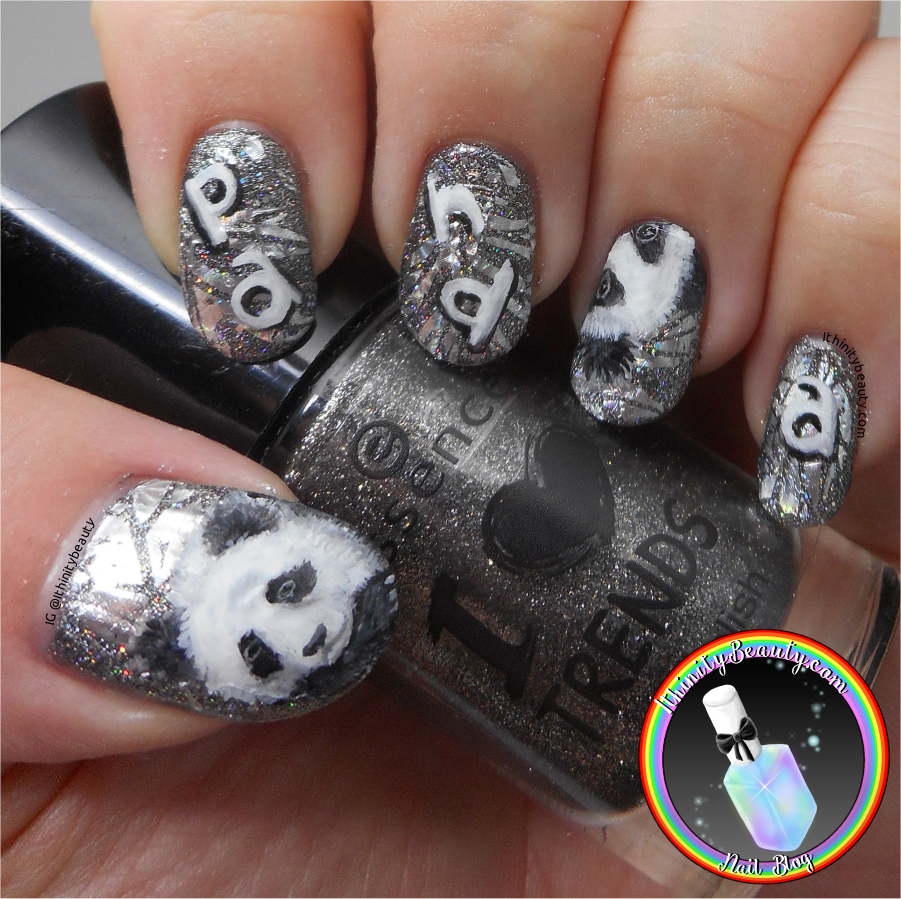 Freehand gel holographic foil panda nail art ithinitybeauty there are also the weekly challenges as i have mentioned birthday draws and many of the members can offer so much help with nail art ive learnt rather a prinsesfo Image collections