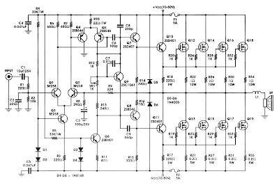 Skema Rangkaian 400W MOSFET Amplifier