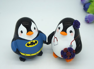 Penguin Wearing Batman Costume Wedding Cake Topper