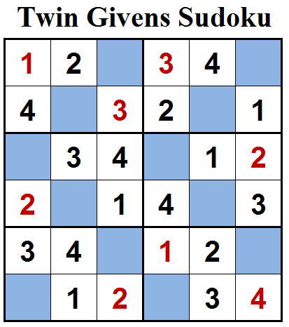 Twin Givens Sudoku (Mini Sudoku Series #85) Solution