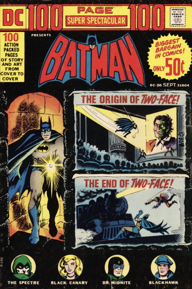 Batman alongside vignettes touting a pair of Two-Face stories and copy promoting 100 pages for only 50 cents