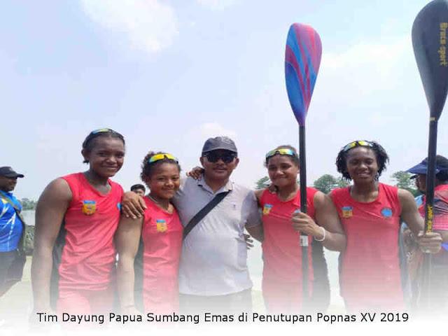 Tim Dayung Papua Sumbang Emas di Penutupan Popnas XV 2019