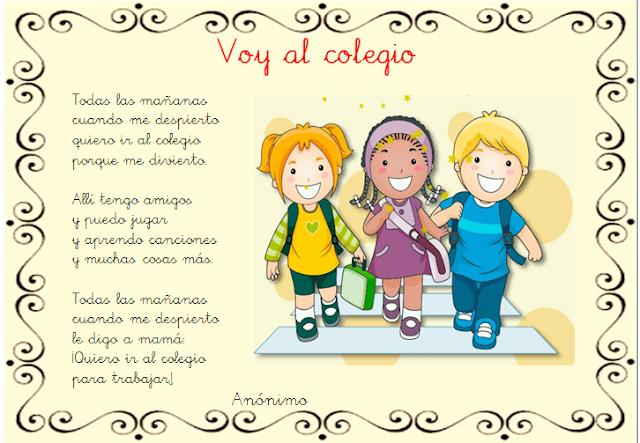 Resultado de imagen de poema del colegio para niños