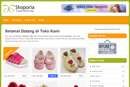 Template Toko Online Blogger Shoporia Responsive & Seo Friendly