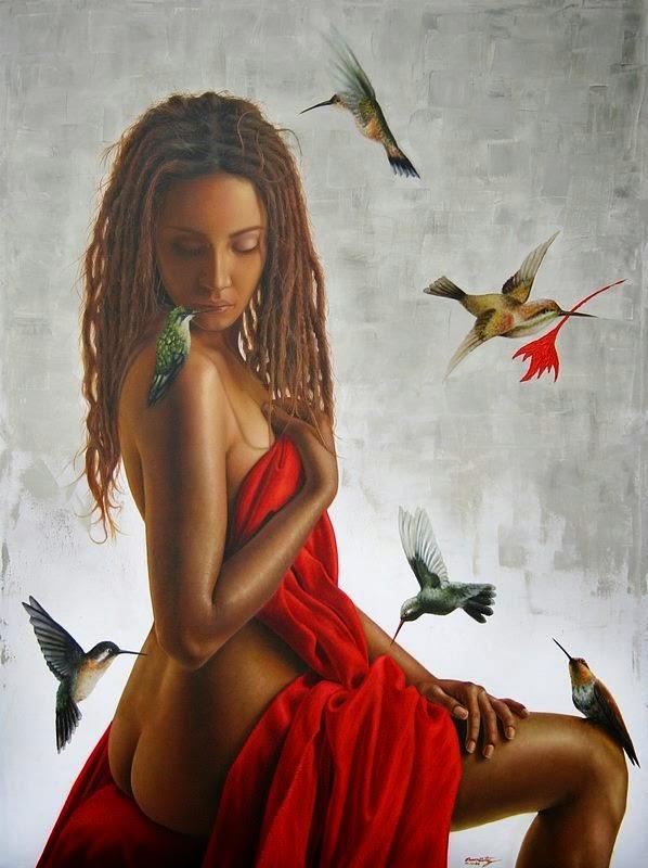 Beija-Flores Atraídos Pelo Vermelho - Omar Ortiz | Pintura Sensual Hiper-Realista  - Mexicano