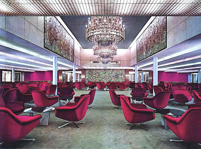 a 1960s Italian cruise ship interior photograph, lounge
