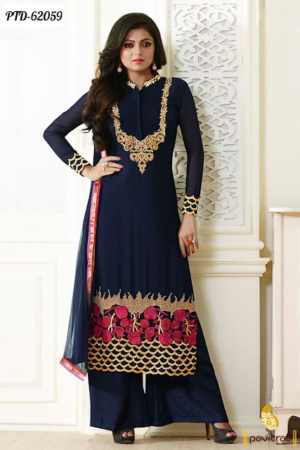 Madhubala Drashti Dhami fashion cobalt blue color chiffon fancy  designer palazzo suits and dresses collection online with discount