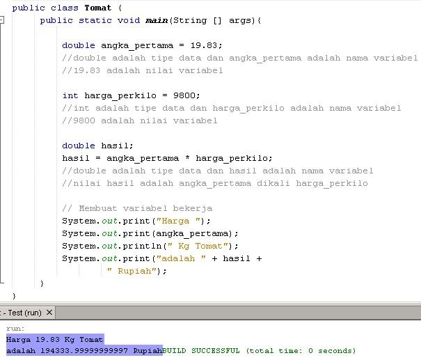 Belajar Java Dasar Mendeklarasikan Variabel