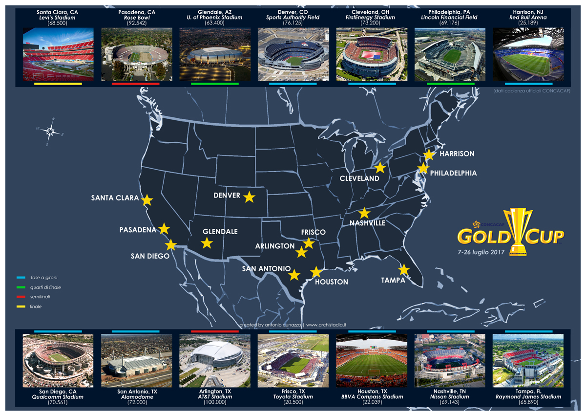 guida mappa stadi gold cup 2017