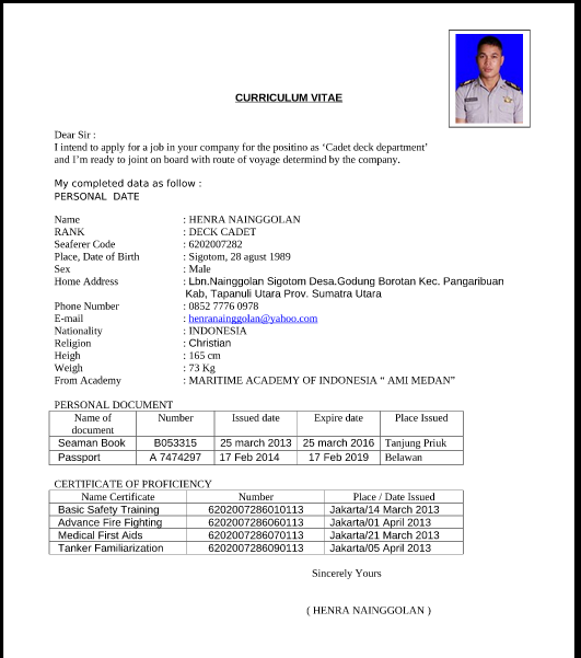 Curriculum Vitae Cv Resume Daftar Riwayat Hidup Yang Efektif