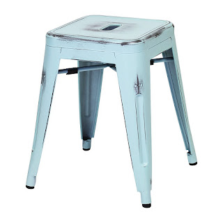 blue painted metal stool