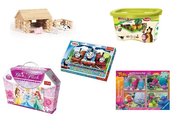 klocki drewniane, kolcki z maszą, puzzle - prezenty dla przedszkolaków