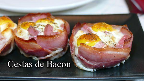 Cestas de bacon rellenas