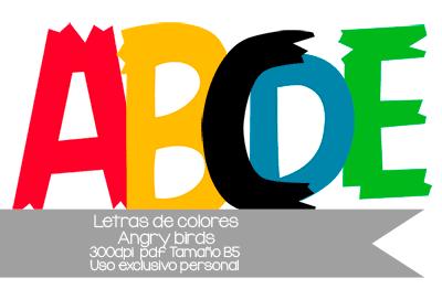 Letras de colores Angry Birds para imprimir