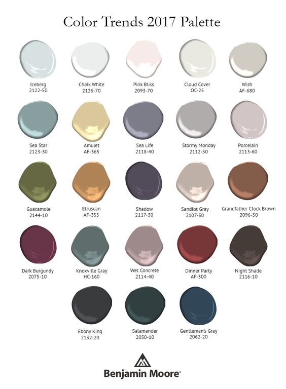 Benjamin Moore Color Trends 2017 Palette