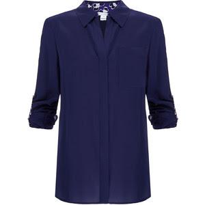 Lorelei navy silk blend shirt, USD 109.78 from Diane von Furstenberg