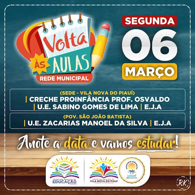 Secretaria Municipal de Educação e Desporto de Vila Nova divulga data para início do ano letivo 2017!