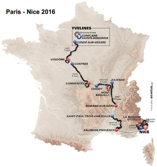 Paris-Nice route map 2016