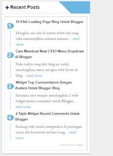 cara membuat widget recent post