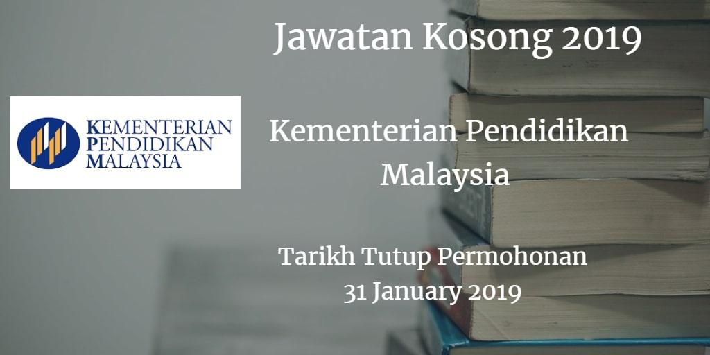 Jawatan Kosong KPM 31 January  2019