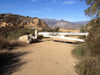 Trailhead for Lower Monroe Road (2N16) at Glendora Mountain Road returning from Summit 3397, Angeles National Forest