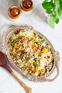 Spicy Soya Biryani made with soya chunks, mix vegetables and basmati rice