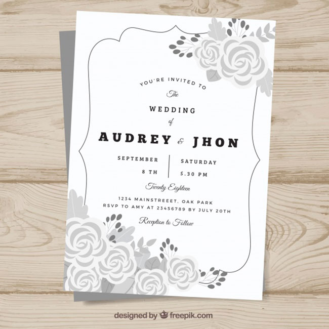 Wedding invitation template with flowers in gray tones download