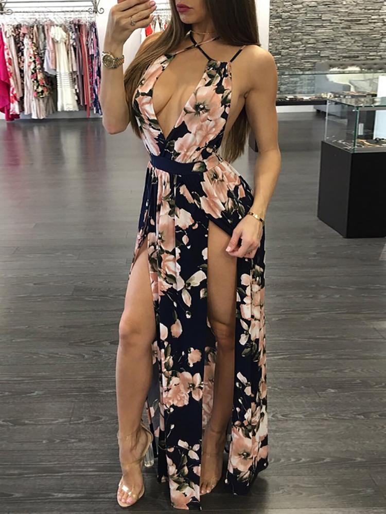 Deep V Floral Crisscross Back High Slit Maxi Dress