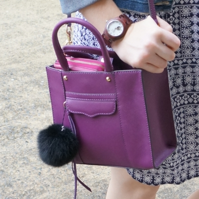 JORD Cora purpleheart wood watch, Rebecca Minkoff mini MAB tote in plum | away from the blue