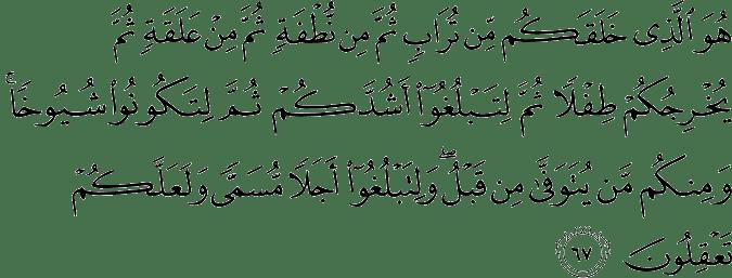 Surat Al Mu'min Ayat 67