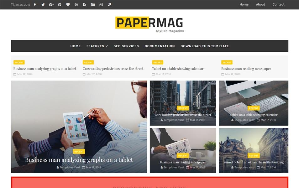 Papermag Stylish Magazine Blogger Teması