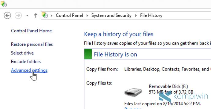 file history backup setelah install ulang