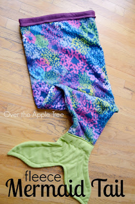 DIY Fleece Mermaid Tail Blanket, very inexpensive- by Over The Apple Tree