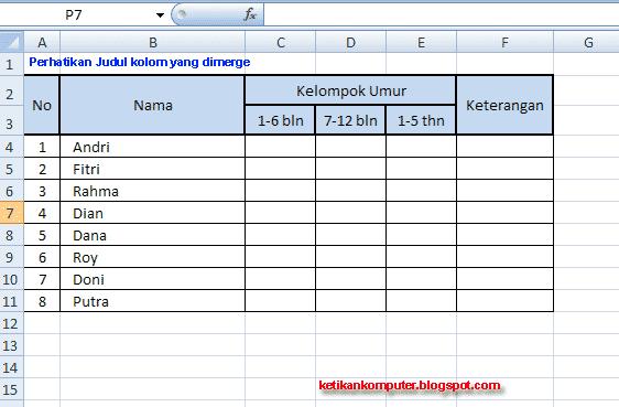 CARA MENGGABUNGKAN SEL ATAU MERGE CELLS DI MS EXCEL 2007 ...