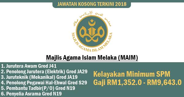 jawatan kosong majlis agama islam melaka 2018