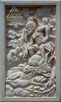 Relief batu putih motif gambar hanoman